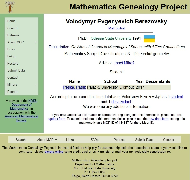 math genealogy project